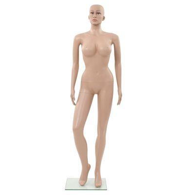 vidaXL Sexy Weibliche Schaufensterpuppe mit Glassockel Beige 180 cm