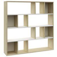 vidaXL Raumteiler/Bücherregal Weiß und Eiche 110×24×110 cm Spanplatte