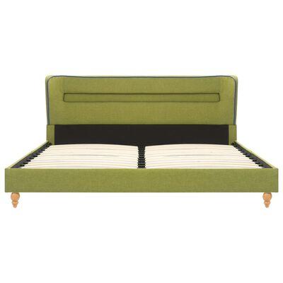 vidaXL Bett mit LED und Matratze Grün Stoff 120 x 200 cm