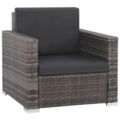 vidaXL 12-tlg. Garten-Lounge-Set mit Auflagen Poly Rattan Grau