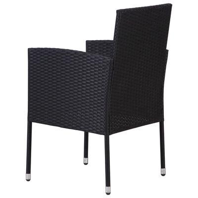 vidaXL Gartenstühle 2 Stk. Poly Rattan Schwarz