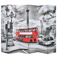 vidaXL Raumteiler klappbar 228 x 170 cm London Bus Schwarz-Weiß