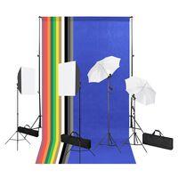 vidaXL Fotostudio-Set mit Hintergrund, Softbox-Leuchten und Schirm