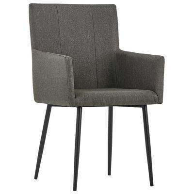vidaXL Esszimmerstühle mit Armlehnen 6 Stk. Taupe Stoff