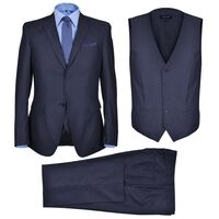 Dreiteiliger Herren-Business-Anzug Größe 50 Marineblau