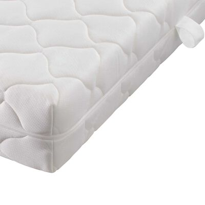 vidaXL Bett mit LED und Matratze Grün Stoff 90 x 200 cm