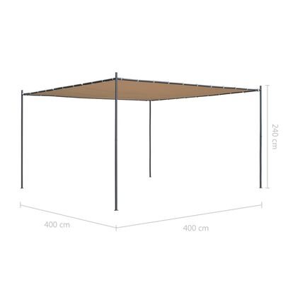 vidaXL Gartenpavillon mit Flachdach 4x4x2,4 m Beige