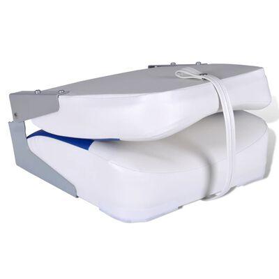 vidaXL Bootssitze 2 Stk. Klappbare Rückenlehne Mit Blau-Weißem Kissen