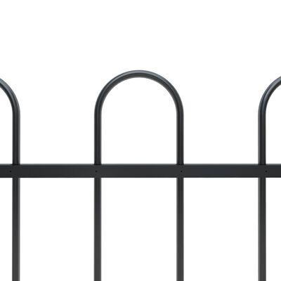 vidaXL Gartenzaun mit Bügel-Design Stahl 13,6 x 1,2 m Schwarz