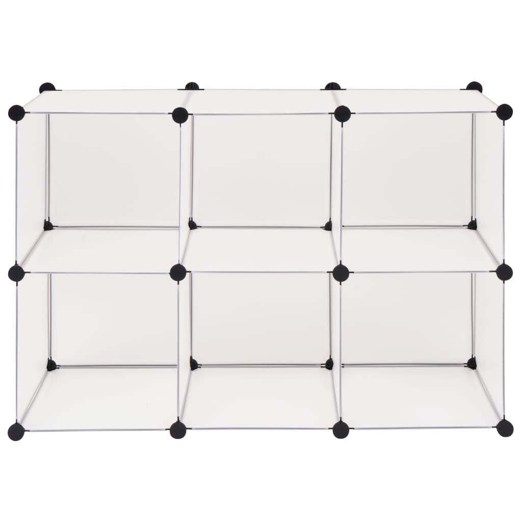 vidaXL Regalsystem Würfel Regal mit 6 Fächern Weiß zum