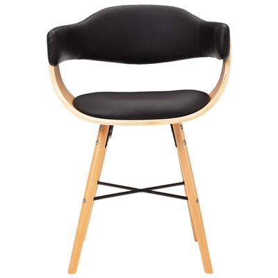 vidaXL Esszimmerstühle 6 Stk. Schwarz Kunstleder und Bugholz