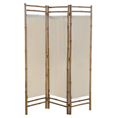 vidaXL 3-teiliger Faltbarer Raumteiler Bambus und Leinwand 120 cm