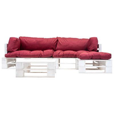 vidaXL 4-tlg. Garten-Paletten-Sofagarnitur mit Roten Kissen Holz