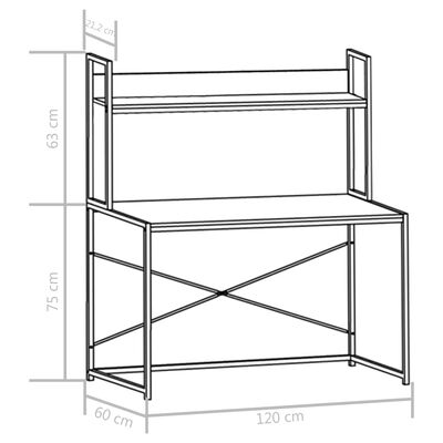 vidaXL Computertisch Weiß 120×60×138 cm