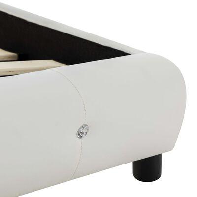 vidaXL Bett mit Matratze Weiß Kunstleder 90 x 200 cm