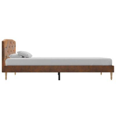 vidaXL Bett mit Matratze Braun Wildleder-Optik 90 x 200 cm