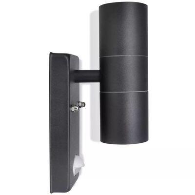 Zylinderförmige schwarze LED-Edelstahl-Wandlampe mit Sensor