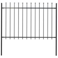 vidaXL Gartenzaun mit Speerspitzen Stahl 1,7 x 1,2 m Schwarz