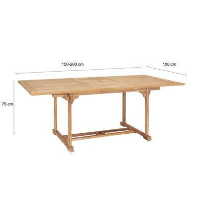 vidaXL Ausziehbarer Gartentisch 150-200 x 100 x 75 cm Massivholz Teak