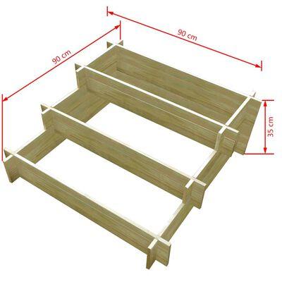 vidaXL 3-stufiger Pflanzkübel 90 x 90 x 35 cm Holz Imprägniert