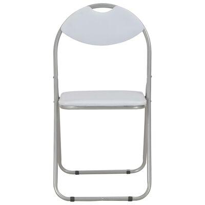 vidaXL Klappbare Esszimmerstühle 4 Stk. Weiß Kunstleder