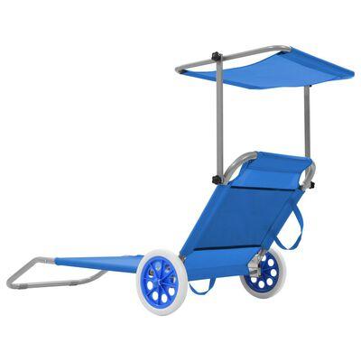 vidaXL Klappliege mit Sonnenschutz und Rädern Stahl Blau