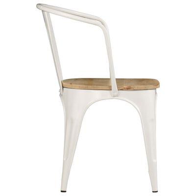 vidaXL Esszimmerstühle 4 Stk. Weiß Massives Mangoholz