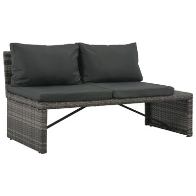 vidaXL 3-tlg. Garten-Lounge-Set mit Polstern Poly Rattan Grau
