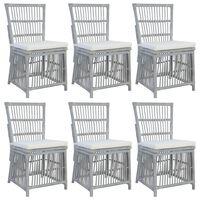 vidaXL Esszimmerstühle mit Kissen 6 Stk. Grau Natur Rattan