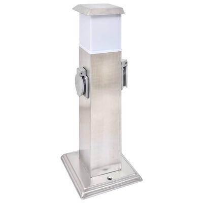 Gartensteckdose Steckdosenturm Edelstahl mit Lampe