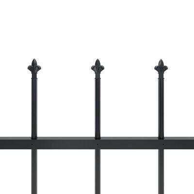 vidaXL Gartenzaun mit Speerspitzen Stahl 6,8 x 1 m Schwarz