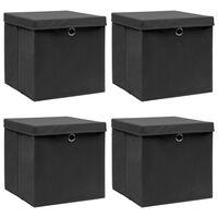 vidaXL Aufbewahrungsboxen mit Deckel 4 Stk. Schwarz 32×32×32 cm Stoff