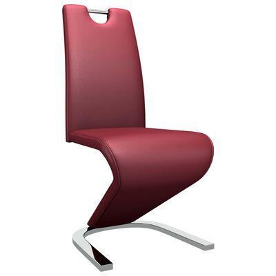 vidaXL Esszimmerstühle in Zick-Zack-Form 4 Stk. Weinrot Kunstleder
