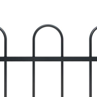vidaXL Gartenzaun mit Bügel-Design Stahl 8,5 x 0,8 m Schwarz