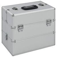 vidaXL Kosmetikkoffer 37x24x35 cm Silbern Aluminium