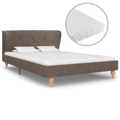 vidaXL Bett mit Matratze Taupe Stoff 120 x 200 cm