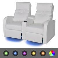 vidaXL LED-Ruhesessel 2-Sitzer Kunstleder Weiß