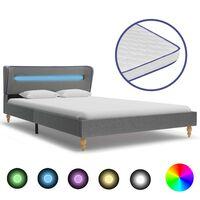 vidaXL Bett mit LED Memory-Schaum-Matratze Hellgrau Stoff 120×200 cm