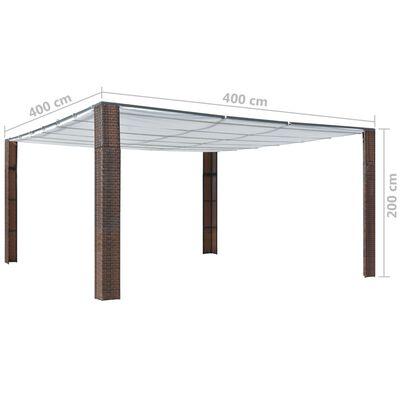 vidaXL Pavillon mit Dach Poly Rattan 400x400x200 cm Braun und Creme