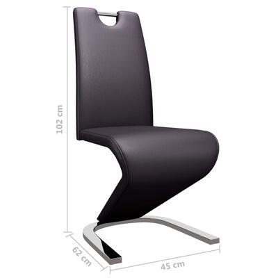 vidaXL Esszimmerstühle in Zick-Zack-Form 6 Stk. Braun Kunstleder