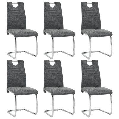 vidaXL Esszimmerstühle 6 Stk. Schwarz Kunstleder