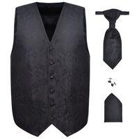Herren Paisley-Hochzeitswesten-Set Größe 50 Schwarz