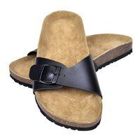 vidaXL Damen Biokork-Sandale mit 1 Schnalle Schwarz Größe 39