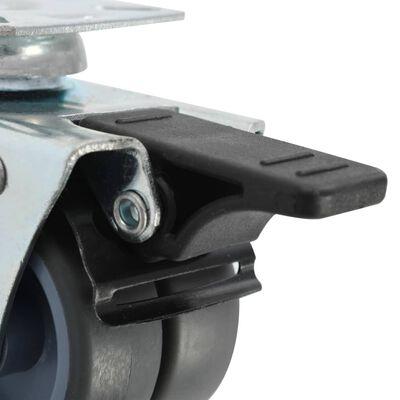 vidaXL 12 Stk. Lenkrollen mit Zwillingsrad 50 mm