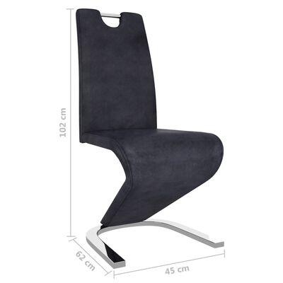 vidaXL Esszimmerstühle in Zick-Zack-Form 6 Stk. Grau Wildleder-Optik