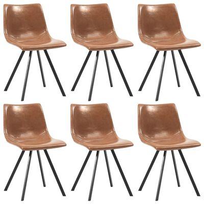 vidaXL Esszimmerstühle 6 Stk. Glänzend Braun Kunstleder