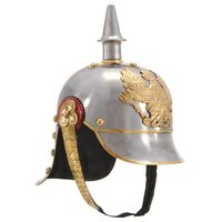 vidaXL Deutscher Preußischer Helm Antik Replik LARP Silbern Stahl
