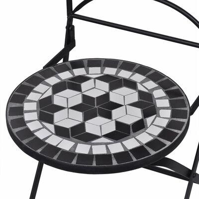 vidaXL 3-tlg. Bistro-Set Mosaik Keramik Schwarz und Weiß