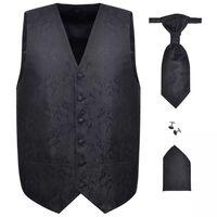 Herren Paisley-Hochzeitswesten-Set Größe 48 Schwarz