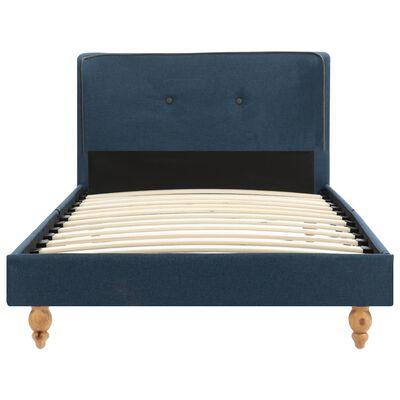 vidaXL Bett mit Matratze Blau Stoff 90 x 200 cm